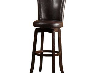 Hillsdale Furniture Copenhagen 39  Swivel Counter Stool  Walnut Finish  Brown PU Seat and Back 1 only