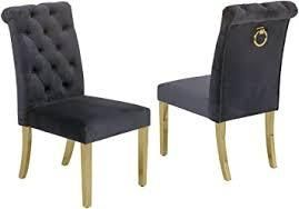 best quality furniture side chairs set of 2 black and gold