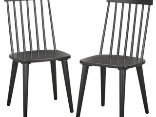 Set of 2 lowry Dining Chairs Black   lifestorey