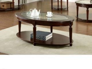 Furniture Of America Claire Oval Glass Top Coffee Table Dark Cherry Finish