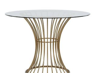 Westwood Glass Top Dining Table With Tempered Glass Brass   Cosmoliving by Cosmopolitan