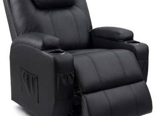 Homall Recliner Chair With Massage Single living Room Huge Thick Padded Black