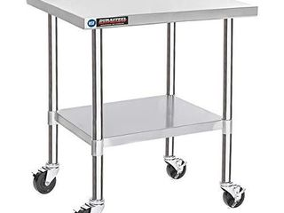 DuraSteel Stainless Steel Work Table 30  x 36  x 34  Height w  4 Caster Wheels   Food Prep Commercial Grade Worktable   NSF Certified   Good For Restaurant  Business  Warehouse  Home  Kitchen  Garage