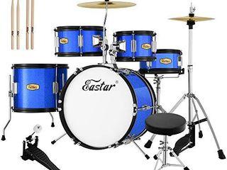 Eastar 16 inch Junior Drum Set Kids Drum Set 5 Piece with Adjustable Throne and Cymbal  Pedal   Drumsticks  Metallic Blue  EDS 350Bu