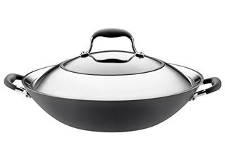 Anolon Advanced Hard Anodized Nonstick Stir Fry Wok Pan with lid  14 Inch  Gray