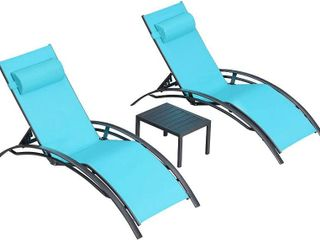 PURPlE lEAF Patio Chaise lounge Sets 3 Pieces Outdoor lounge Chair Sunbathing Chair with Headrest and Table for All Weather  Turquoise Blue