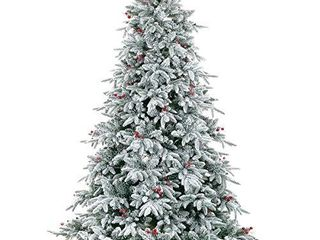 lordofXMAS Flocked Prelit Artificial Christmas Tree  9 feet Pine  800 lED lights