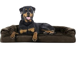 Furhaven Pet Dog Bed   Orthopedic Ultra Plush Faux Fur and Suede Traditional Sofa Style living Room Couch Pet Bed with Removable Cover for Dogs and Cats  Espresso  Jumbo