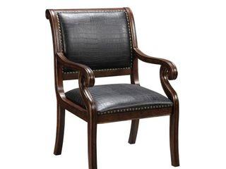 Textured Reptile Print Accent Chair   Black   Treasure Trove