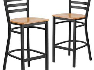 Flash Furniture 2 Pk  HERCUlES Series Black ladder Back Metal Restaurant Barstool   Natural Wood Seat