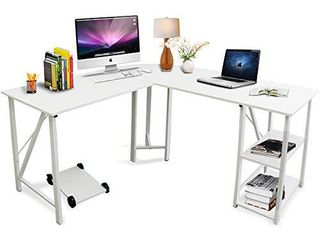 Bizzoelife 59 x55  large l Shaped Corner Computer Desk  Modern Home Office PC laptop Gaming Table with CPU Stand and Bookshelf  Wood   Metal Teens Writing Study Workstation for Space Saving  White