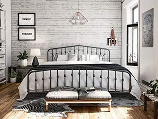 Novogratz Bushwick Metal Bed with Headboard and Footboard   Modern Design   King Size   Grey