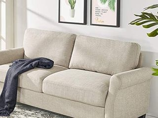 Sofa Beige Traditional Upholstered 77 5 Inch Weave living Room Couch Home Office