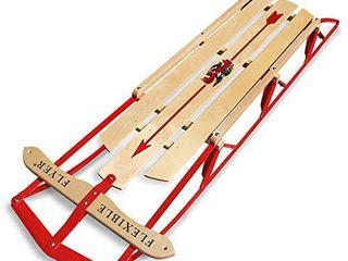 Flexible Flyer large Steel Runner Sled  Metal   Wood Steering Snow Slider  Adult 60