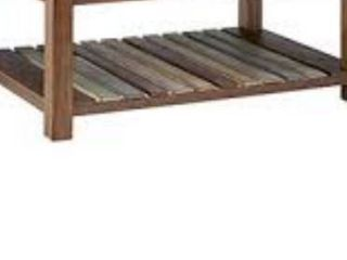 Ball   Cast Densmore Wood Coffee Table With lower Slatted Shelf  Burnt Sugar