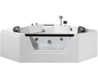 59 in  Acrylic Right Drain Corner Alcove Whirlpool Bathtub in White