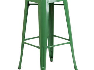 Flash Furniture 30  High Backless Metal Indoor Outdoor Barstool with Square Seat  Multiple Colors set of 4