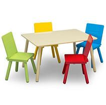 Delta Children Kids  Table and Chair Set 4 Chairs Included  Natural Primary