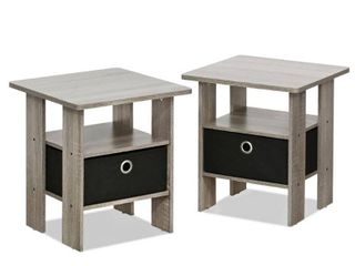 Furinno 2 Petite End Table Bedroom Night Stand   Set of Two  Multiple Finishes