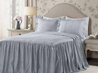 Queen 3pc Ticking Stripe Bedspread Set Navy   lush DAccor