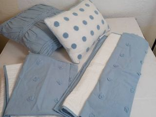 Kay Cotton Jacquard Blue Pillow  White Pillow with Blue Poke a dots  2 light Blue Pillow Cases  2 White with light Blue Trim Pillow Shams