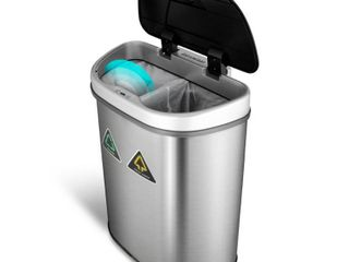 Nine Stars Trash Can Recycler  Infrared Touchless Automatic Motion Sensor lid  Stainless Steel  18 5 Gallon