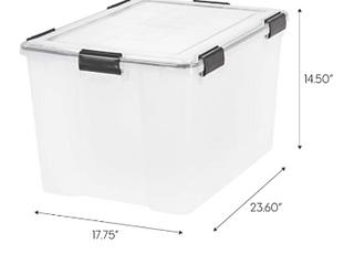 IRIS USA UCB lDD Weathertight Storage Box  Qty 3  74 Quart  Clear