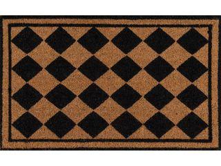 Erin Gates by Momeni Park Harlequin Black Hand Woven Natural Coir Doormat 1 6  X 2 6