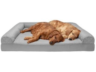 FurHaven Pet Dog Bed Orthopedic Quilted Sofa Style Couch Pet Bed for Dogs   Cats  Silver Gray  Jumbo Plus