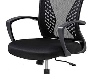 Home Office Chair Mid Back PC Swivel lumbar Support Adjustable Desk Task Computer Ergonomic Comfortable Mesh Chair with Armrest  Black