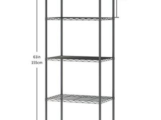 JEROAl 5 Tier Wire Shelving  Metal Wire Shelf Storage Rack  Durable Organizer Unit Perfect for Kitchen Garage Pantry Organization in Black  21  Wx14 Dx61 H
