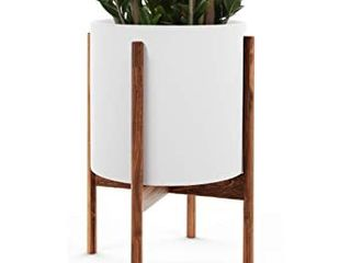 Eden Homes Handmade Fiberglass Pot  amp  Bamboo Wood Stand