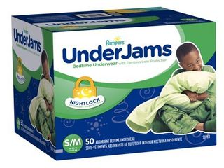Pampers UnderJams Boys Bedtime Underwear   Size S M   50 Pack