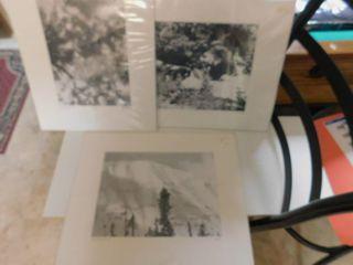 Set of 3 Black   White Photographs