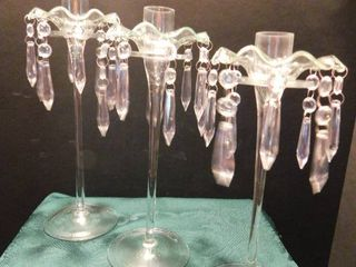 Glass Taper Candle Holders  3 ea