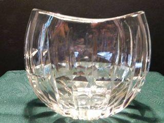 Heavy Cut Glass Bowl Vase