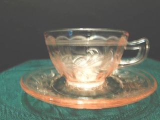 Depression Glass Cup   Saucer