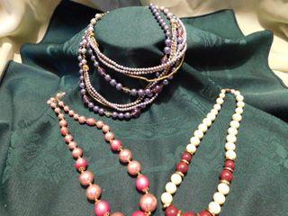 Vintage Bead Necklaces  3 ea