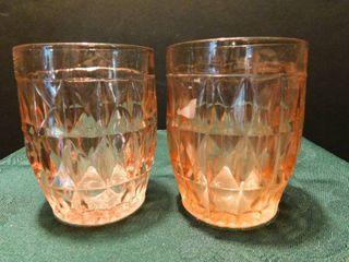Depression Glass Tumblers  2 ea