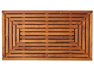 Bare Decor Oiled Finish Solid Teak Wood Giza Shower  Spa  Door Mat Retail 110 71