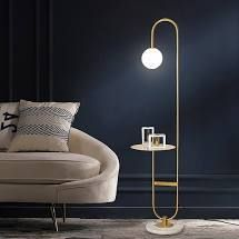 Gold  Q Max Adjustable Floor lamp with Metal Dome Shade and Black Marble Base in Brass Gold  Retail 134 49