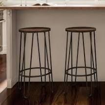 Carbon loft Malory Elm Wood Bar Stools with Hairpin legs  Set of 2  Retail 94 49