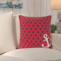 Red Polka Dot Decorative Pillow with Anchor