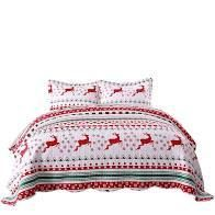 King  MarCielo 3 Piece Christmas Quilt Set Bedspread Set By013
