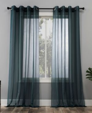 84 x59  Emily Sheer Voile Grommet Top Curtain Panel Teal   No  918