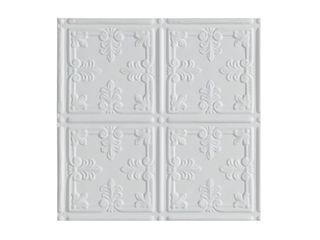 Sample  Fasade Traditional Style  10 Matte White 2 ft x 4 ft Glue up Ceiling Tile