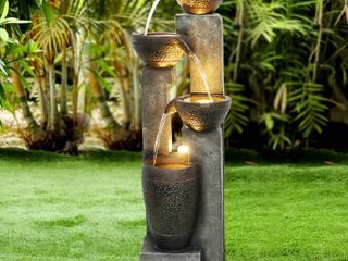 4 tier Outdoor Modern Water Fountain w lED lights for Home Decor Retail 218 99
