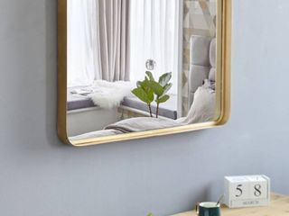 35 8  large Metal Wall Mirror Glass Rounded Corner Deep Set Design Retail 98 99