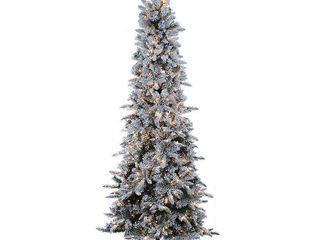 Sterling 9Ft  Flocked Narrow Pencil Pine with 650 clear lights