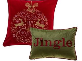 18 18  Elegant Reindeer Ornamental and Jingle Pillow Cover Set of 2